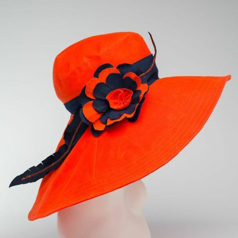 Navy and Orange Rain Hat, Sun hat, made in Vermont