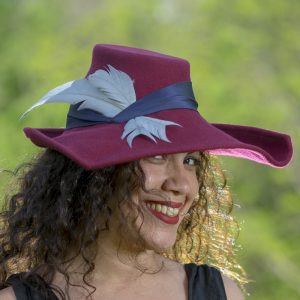 Wine portrait hat with blue silk and feathers