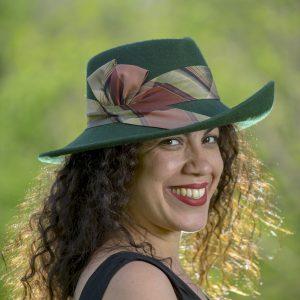 Green fedora with plaid silk