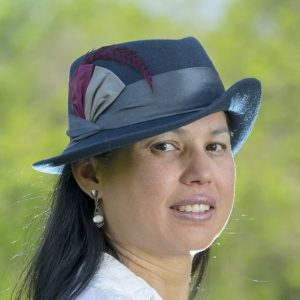 Navy Gal Friday fedora hat with blue silk, berry accent