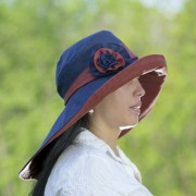 waxed cotton, navy and red rain or sun hat