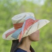 Natural peri sisol straw picture hat with orange silk