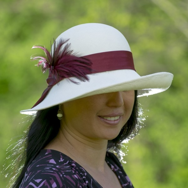 white paper toyo straw hat, burgandy silk