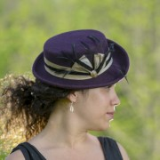 Purple mini top hat, with gold and black