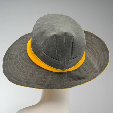 grey wide-brimmed cloche, gray sun hat and rain hat