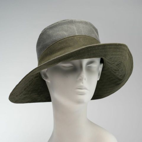 grey and olive, wide-brimmed rain hat and sun hat
