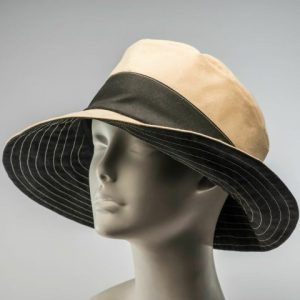 Natural and Black rain hat sun hat cloche