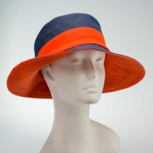 wide brimmed cloche rain hat sun hat, waxed cotton