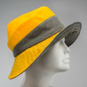 rain hat, sun hat, wide brimmed cloche in yellow and gray