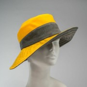 wide-brimmed cloche, waxed cotton, yellow and grey