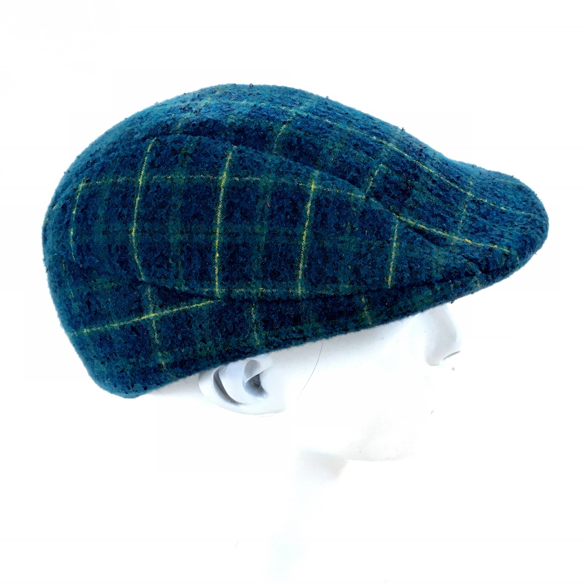 Men s Wool Felt Flat Cap–Blue Plaid 73c866eeb3b