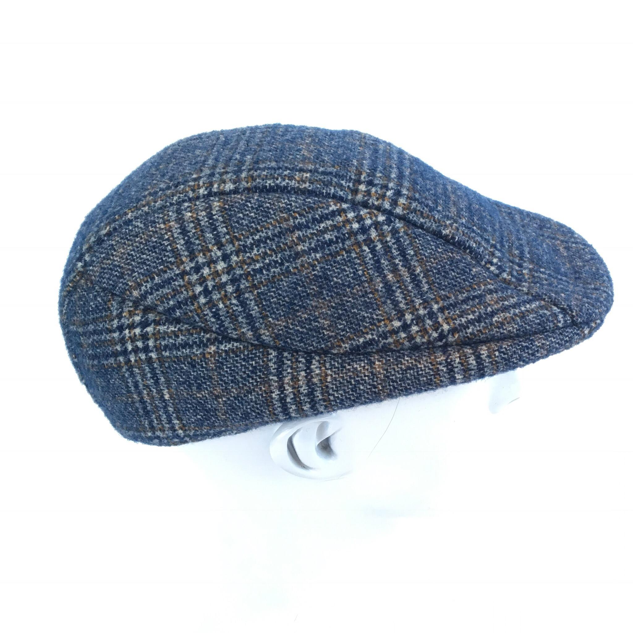 Mens denim plaid wool felt Flat Cap 680d461f3a1