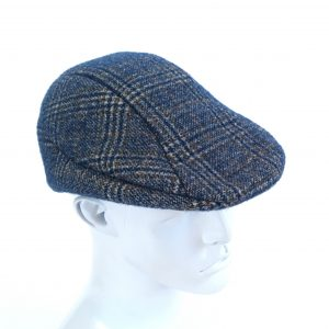 Blue plaid flat cap