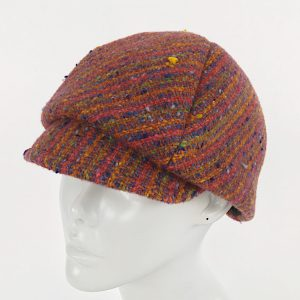 rust orange newsboy cap, striped newsboy cap