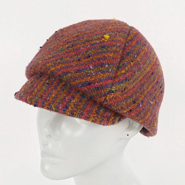 rust orange newsboy cap, striped newsboy cap
