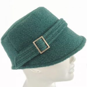 Dusty green spring merino wool felt kepi cap
