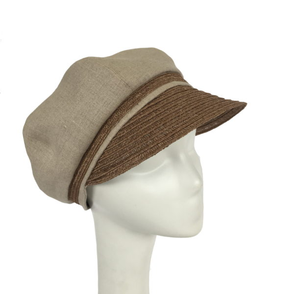 Natural Linen and Hemp Newsboy cap