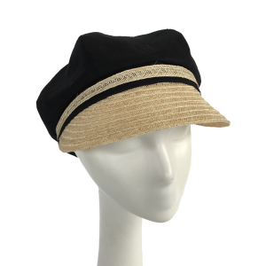d9afd4fbe9a92 Newsboy Cap in Linen and Hemp–black and natural