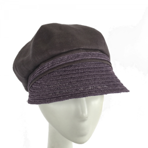 Slate and lavender linen and hemp newsboy cap