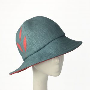 b1403f86ee7ae Linen Cloche with Pointed Brim-Porch Blue