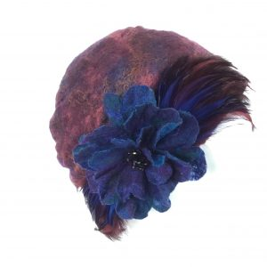 Purple nuno-felt turban cloche
