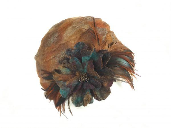 Hand felted nuno turban cloche