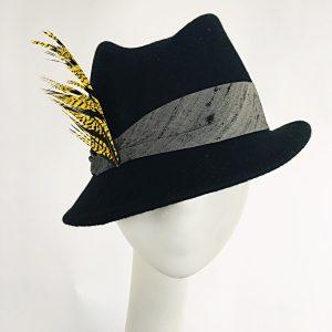 gangster hat, black trilby, women's fedora