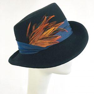 women's fedora hat, black felt hat