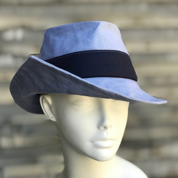 "558c8685cdfa4 Pointed-Brim Fedora"" rain or shine hat in light blue and navy"