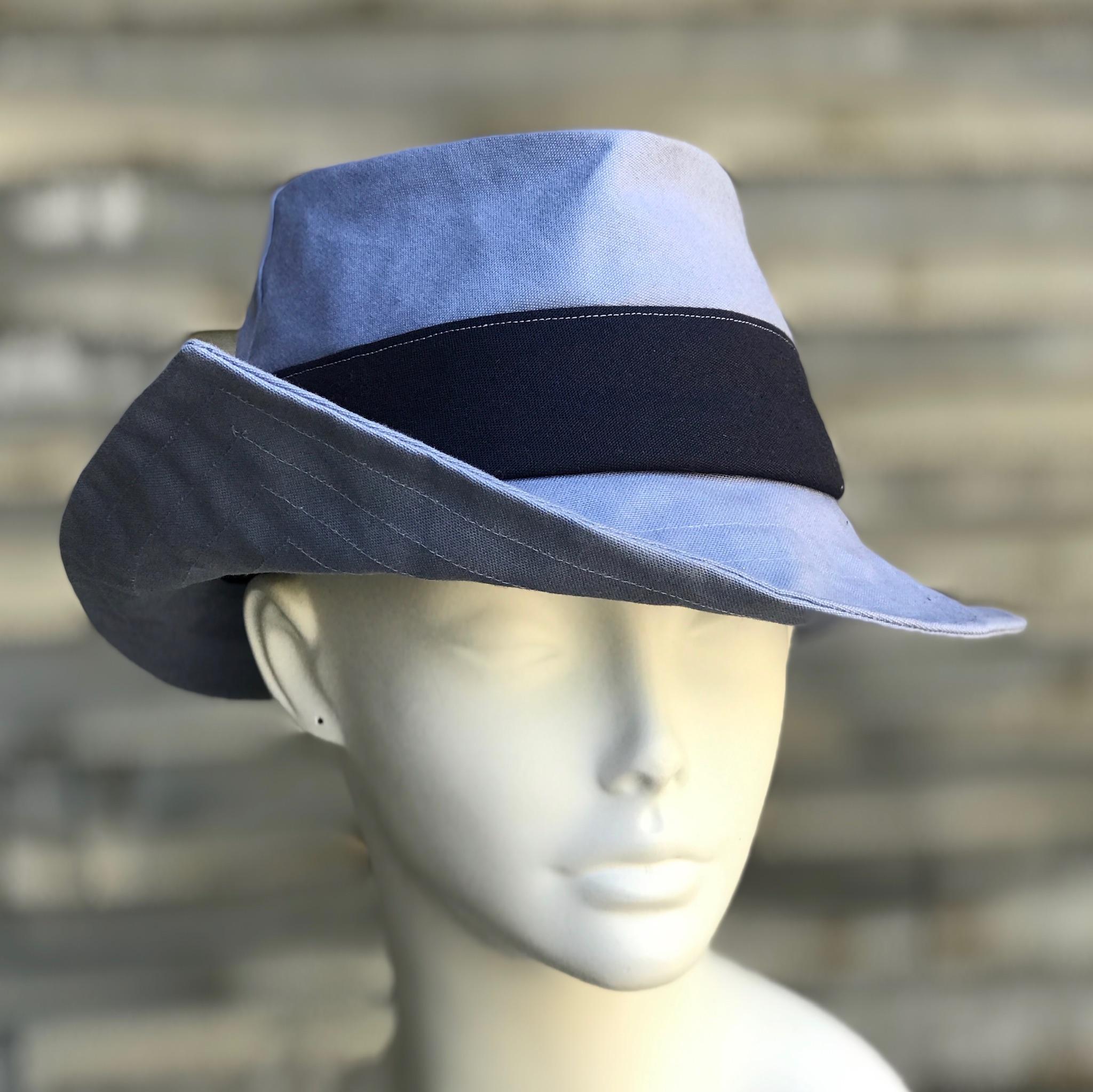 blue fedora rain hat