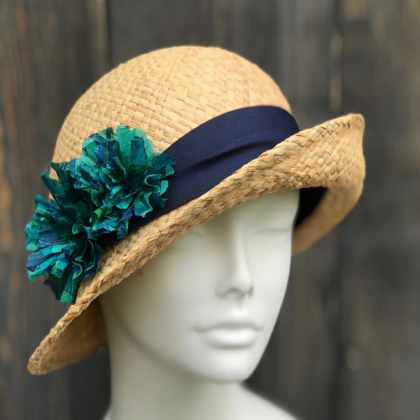 Natural straw bowler cloche
