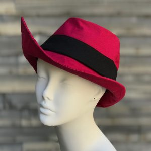 Red and black rain fedora