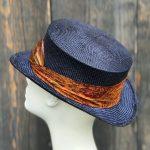 Navy straw top hat