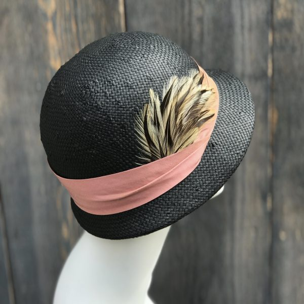 black straw cloche