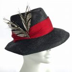 pointed brim fedora in black and red