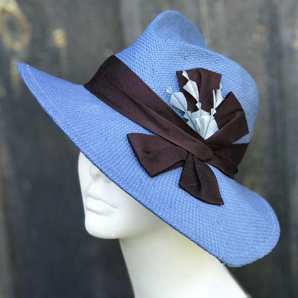 blue wide brim sun hat