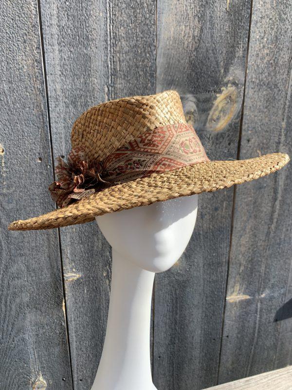 Front view Ladies wide brim brown straw hat