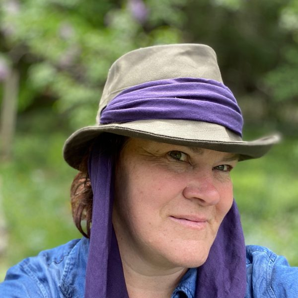 Olive green and purple garden hat with scarf